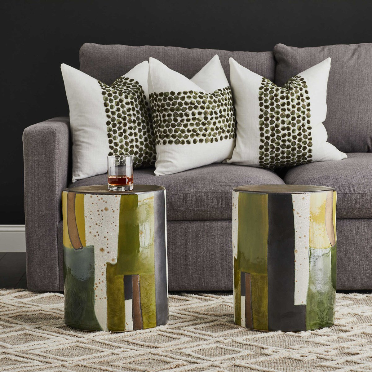 Abstract, color-block stools are chic and right on color trend for 2021
