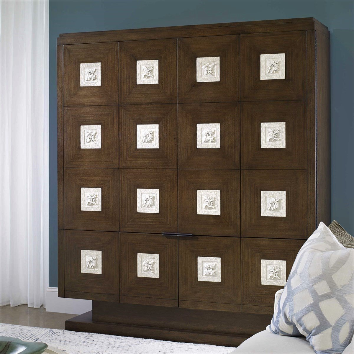 Large retro-nostalgic chest with geometric shapes and botanicals