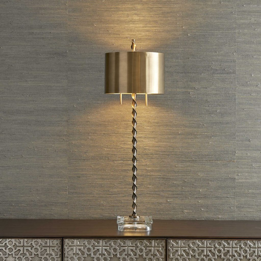 Gold mid-century lamp looks vintage and chic