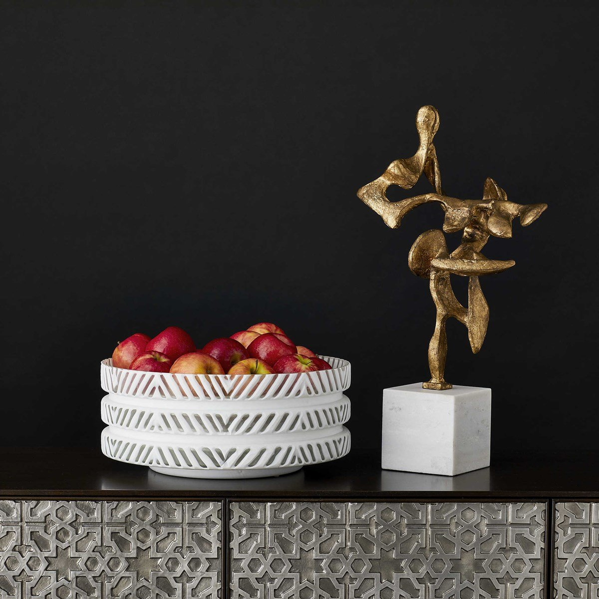 Gold and marble abstract sculpture on trend for 2021