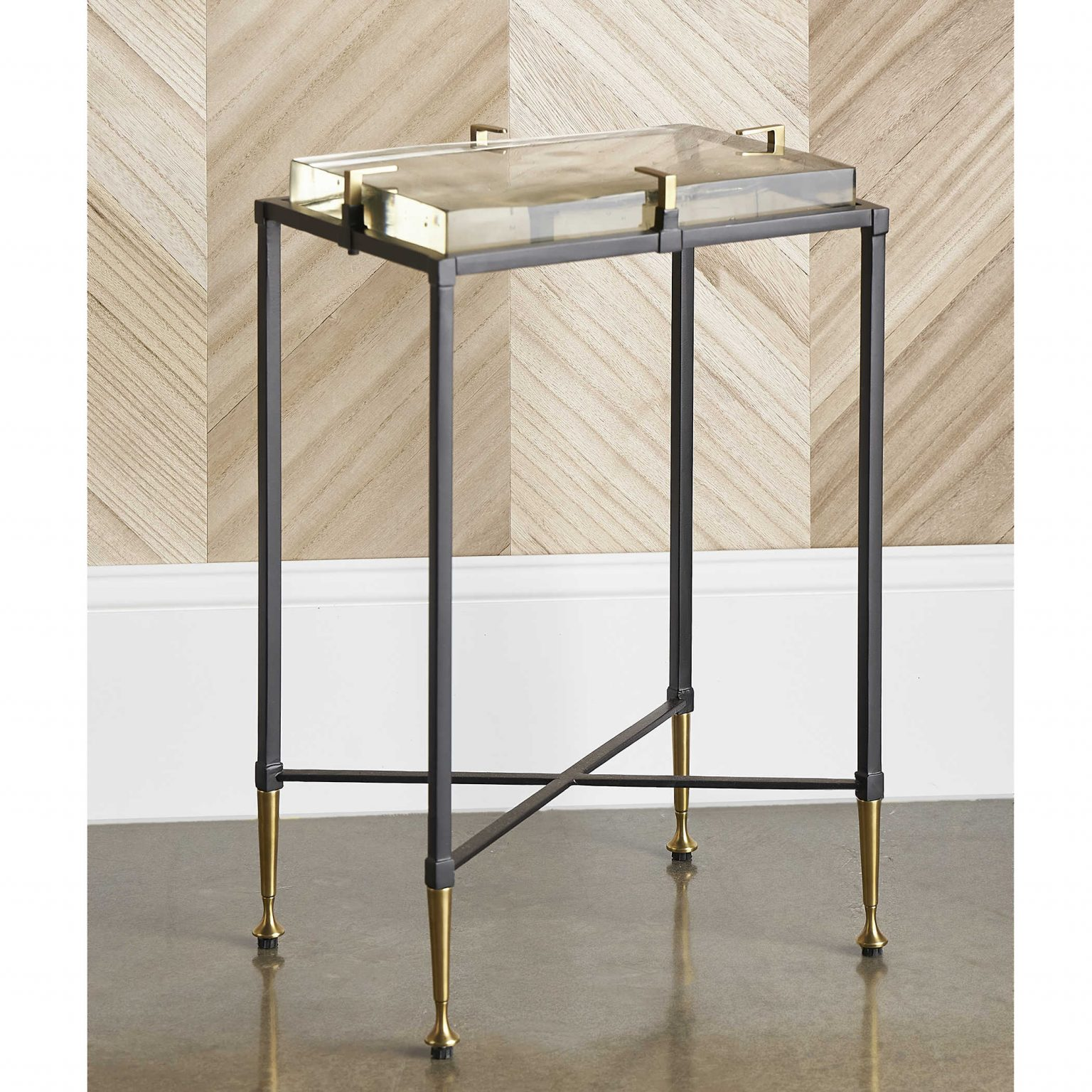 Retro-inspired accent table with brass and lucite details