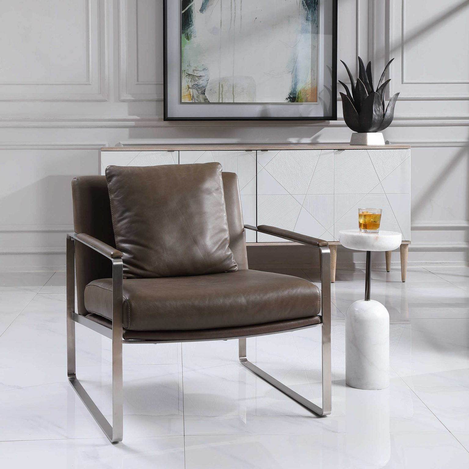 Square leather-padded chair is retro and on trend for 2021