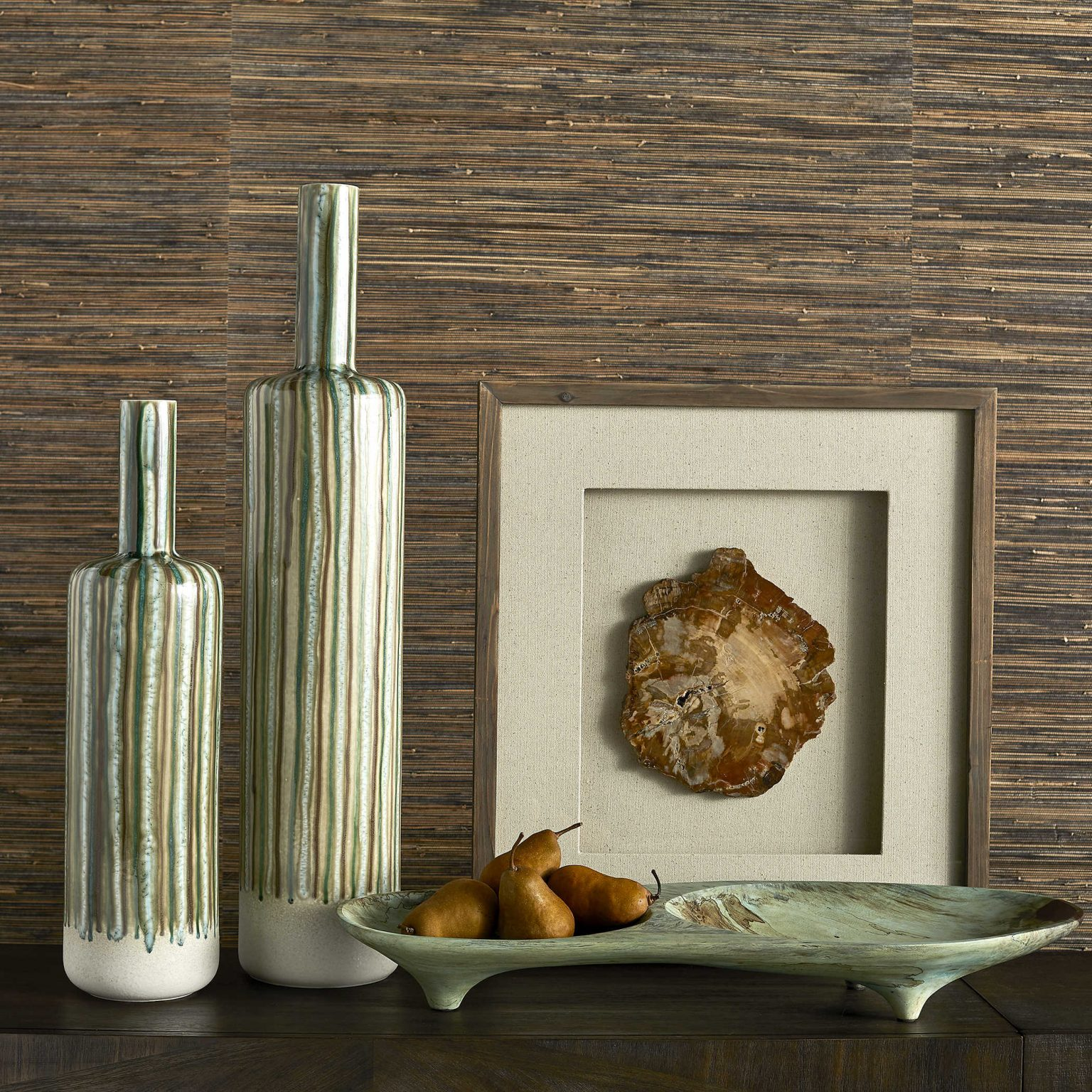Ceramic bottles with petrified wood