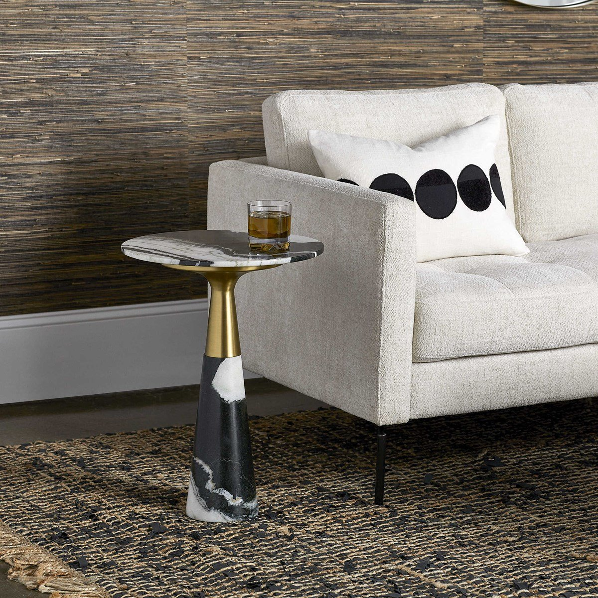 Mixed marble and brass looks chic in this retro-modern side table