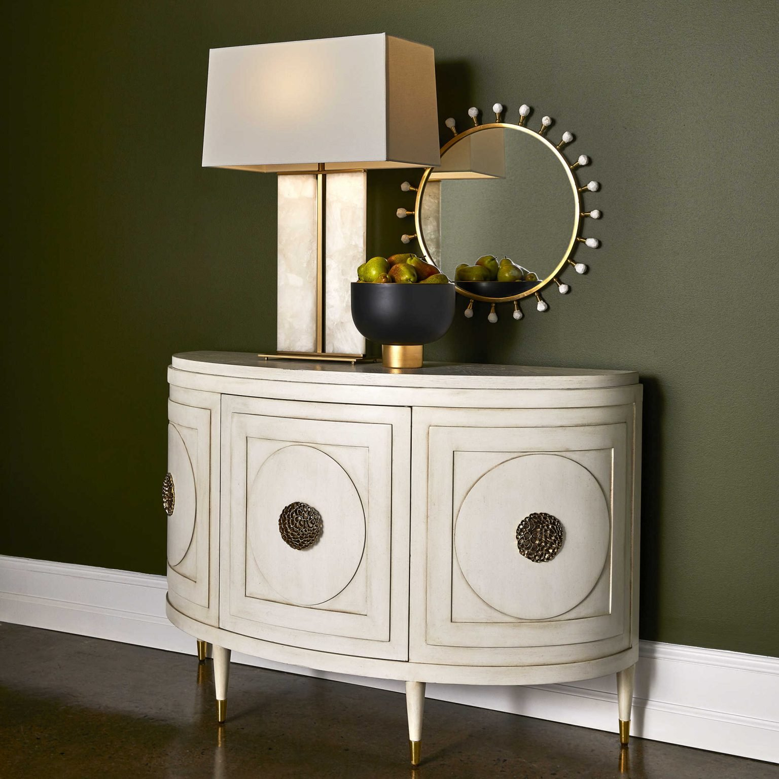 Vintage console table with geometric shapes fits in perfectly with the granny chic interior decor trend