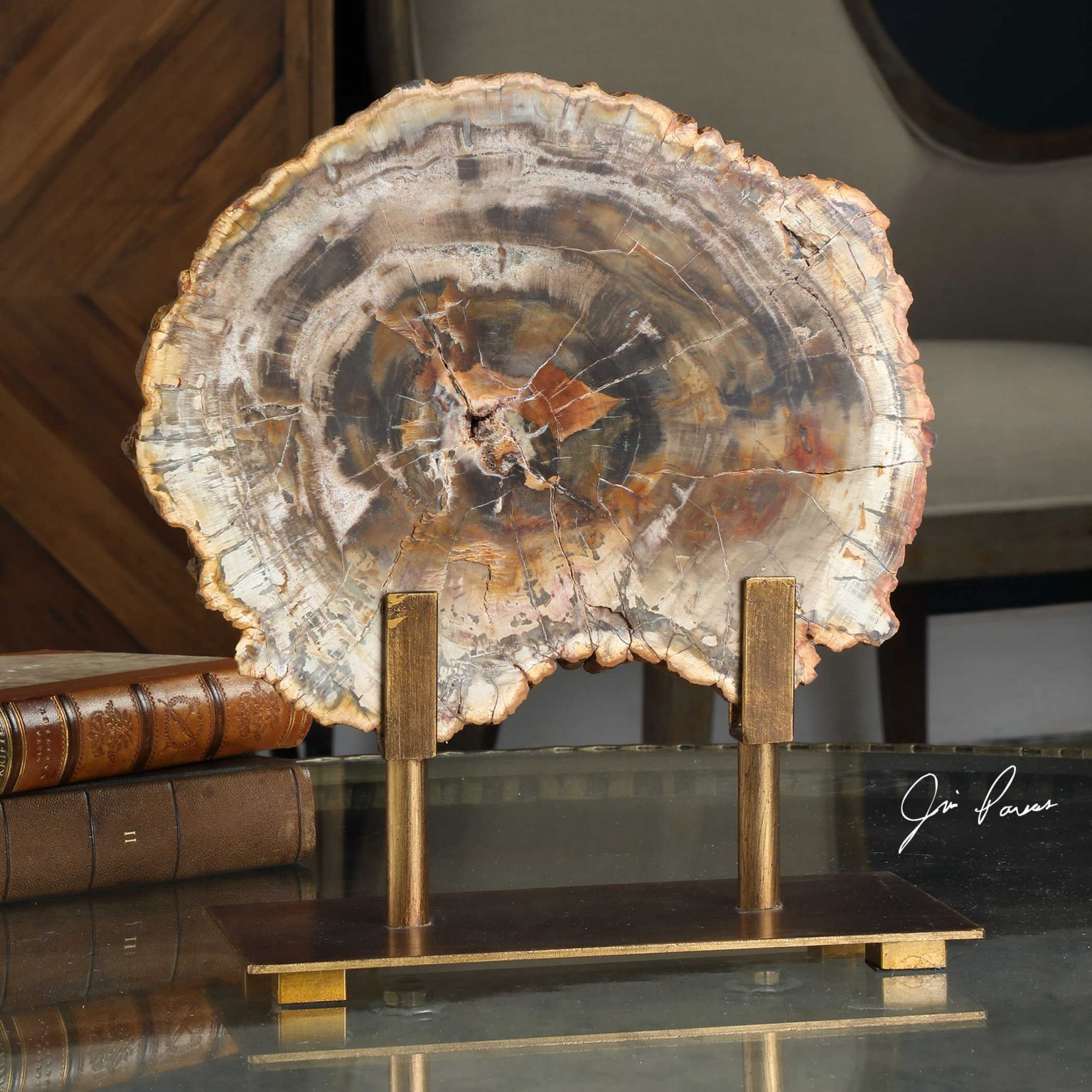 Petrified wood decor compliments the granny chic style