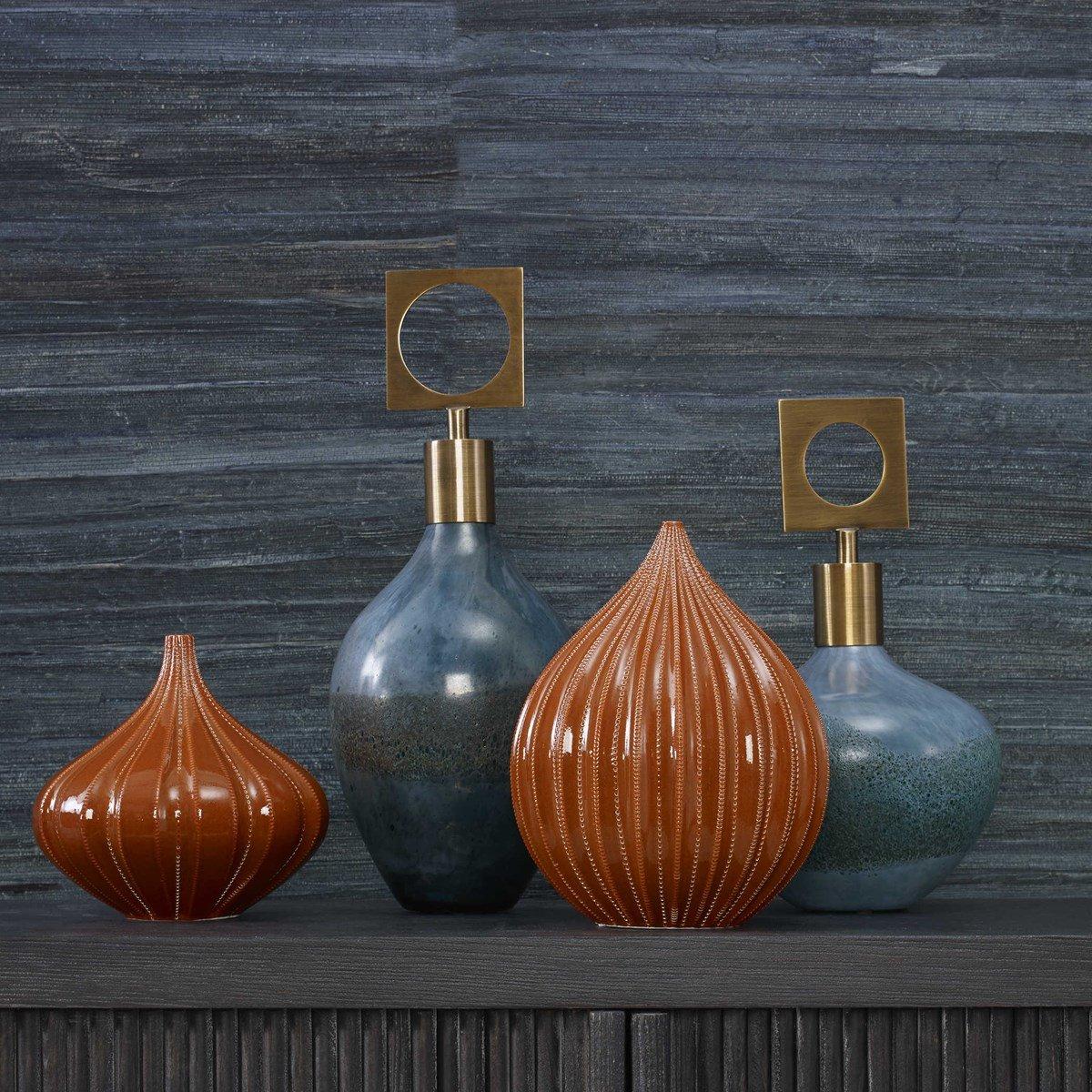 Glazed decorative bottles look both modern and retro