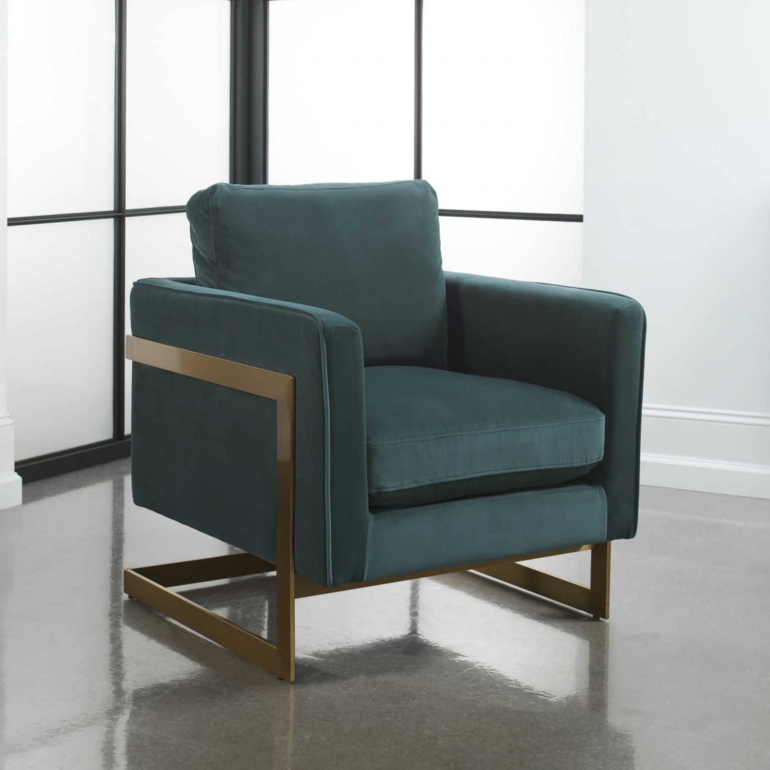 Teal, art deco revival chair with square lines - perfect for 2021 interior design and color trends